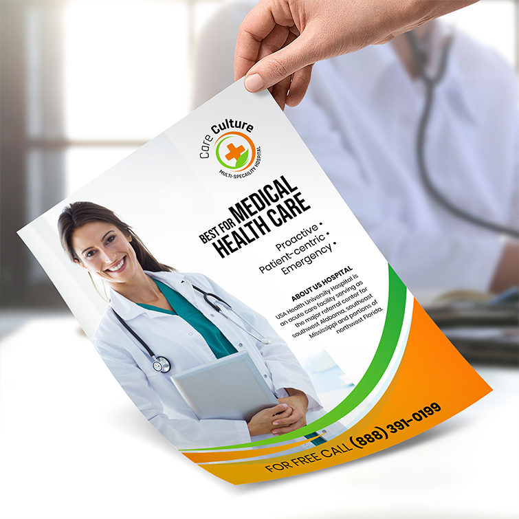 Health Business Flyers   Standard Gloss Paper Stock Without Coating With No Folding Best for Medical Health Care Flyers   Print Magic