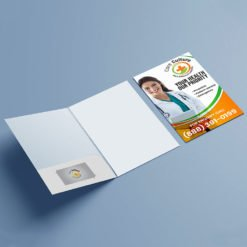 Pearl Metallic Presentation Folders | Health Horizontal Business Card Slits Centered On Left Pocket and Add Pockets and Business Card slits on the left and right | Print Magic