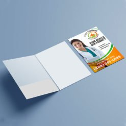 Pearl Metallic Presentation Folders | Health Horizontal No Business Card Slits On Left Pocket and Add your photos, logos, brand name, or message to customize | Print Magic
