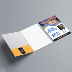 Custom Presentation Folders | Health Vertical Business Card Slits Centered On Left Pocket and Business Card Slits on the left or right inside pocket | print Magic