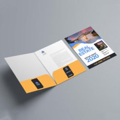 Velvet Soft Touch Presentation Folders | On Both Pockets Real Estate Vertical Business Card Slits Centered With Velvet Soft Touch Lamination on 16 pt Premium Cardstock | Print Magic