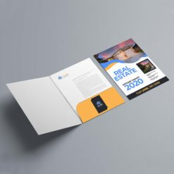 Velvet Soft Touch Presentation Folders | On Right Pocket Real Estate Vertical Business Card Slits Centered With Add Pockets and Business Card slits on the left and right | Print Magic