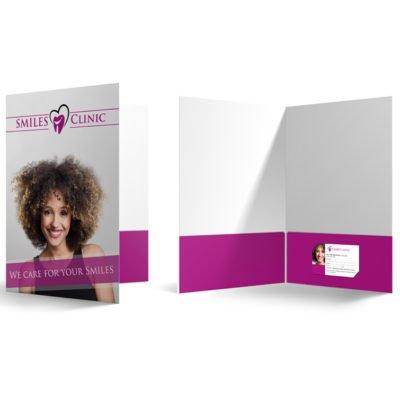 Velvet Soft Touch Presentation Folders | Presentation Folder Medical Dentist two pocket horizontal right With Velvet Soft Touch Lamination on 16 pt Premium Cardstock | Print Magic