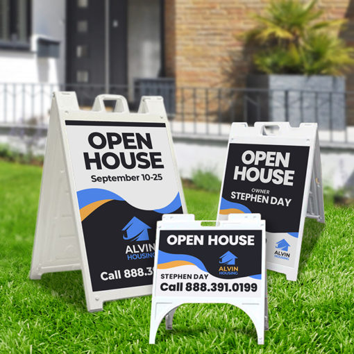 Real Estate A-Frame Sidewalk Signs | Real Estate A-Frame Sidewalk Signs with Includes two signs and one frame and Durable, portable, and easy to set up in place | Print Magic