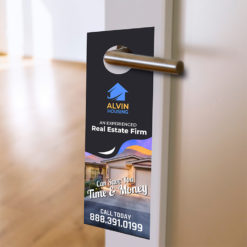 Real Estate Door Hangers | Real Estate Door Hangers with 3 die-cut options and add perforation at the botto and Standard, Premium paper stock with UV or Aqueous coating | Print Magic