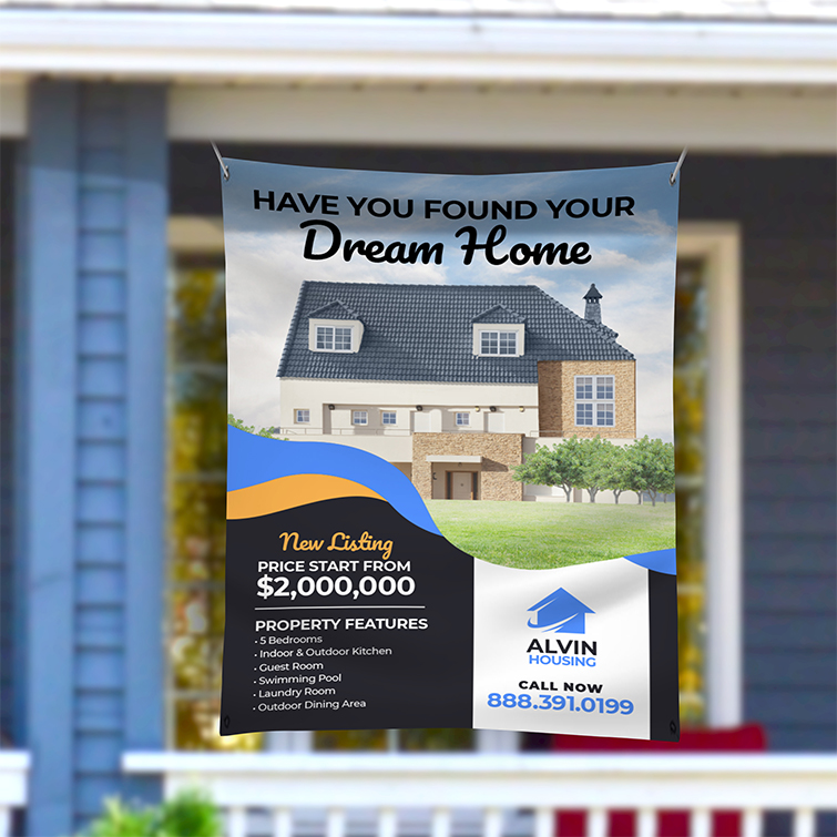 Real Estate Fabric Banner | Real Estate Fabric Banner with Premium Polyester Banner 9 oz. material and Wrinkle-free with superb print quality and opacity | Print Magic