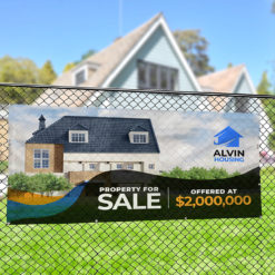 Real Estate Mesh Banner | Real Estate Mesh Banner with Mesh Vinyl Banner 8 oz. material and Waterproof, wind-resistant, great for using outdoors | Print Magic