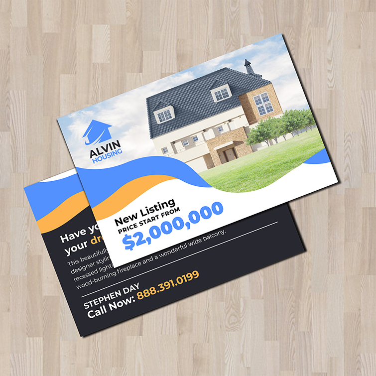 Real Estate Standard Postcards | Real Estate Standard Postcards with Comes with Protective coating and Thick, durable stock for lasting impression | Print Magic