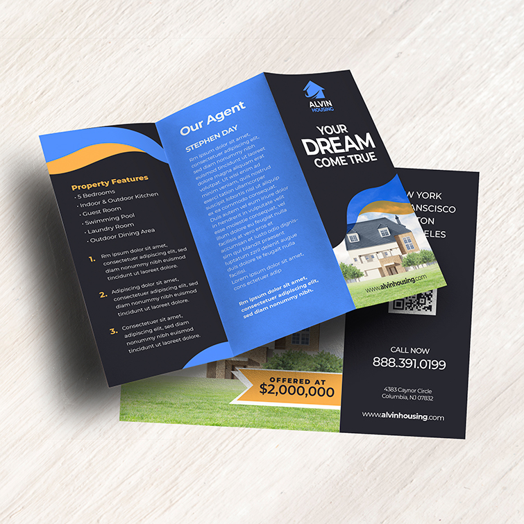 Real Estate Tri-Fold Brochure | Real Estate Tri-Fold Brochure with Durable, long-lasting UV coating and Brochure opens up like a gate on either side | Print Magic