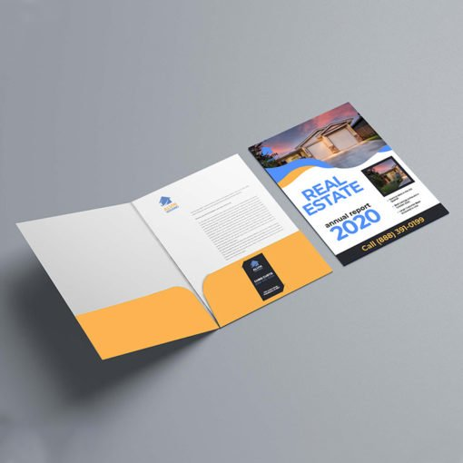 Velvet Soft Touch Presentation Folders | Real Estate Vertical Business Card Slits Centered On Right Pockets and Print Folders that feel amazing to touch and are economical | Print Magic
