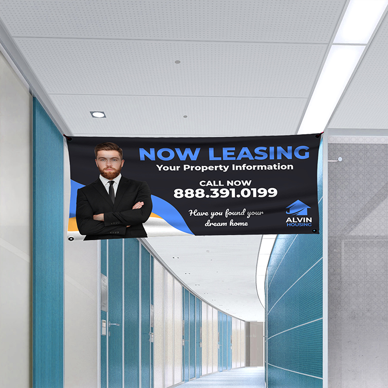 Real Estate Vinyl Banner Indoor | Real Estate Vinyl indoor banner with Premium Vinyl Banner 10 mil material and Easy to read from afar with no glare, matte finish | Print Magic