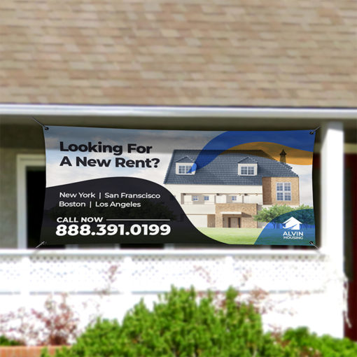 Real Estate Vinyl Banner Outdoor | Real Estate Vinyl Banner Outdoor with Standard Vinyl Banner 13 oz. material and Weather-proof Outdoor Banners for storefront advertising | Print Magic