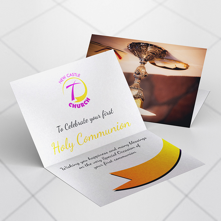 Church Pearl Metallic Invitation Cards | Print custom design with full-color printing and Get matching envelopes for a complete card set | Print Magic