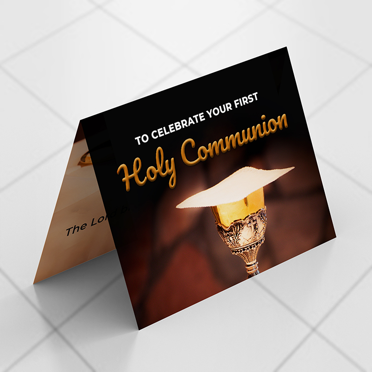 Church Brown Kraft Invitation Cards | Premium gloss paper stock with velvet soft touch lamination and Gold, silver and iridescent foil options available | Print Magic