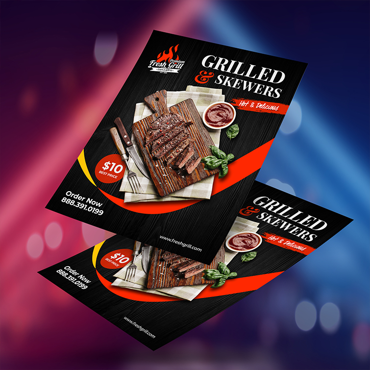 Restaurant Club Flyers | Standard Gloss Paper Stock With UV Coating Front Grilled & Skewers Club Flyers | Print Magic