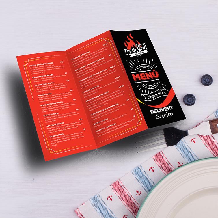 Restaurant Menu Printing | Standard Gloss Text Paper Stock With Aqueous Coating Fresh Grill Menu | Print Magic