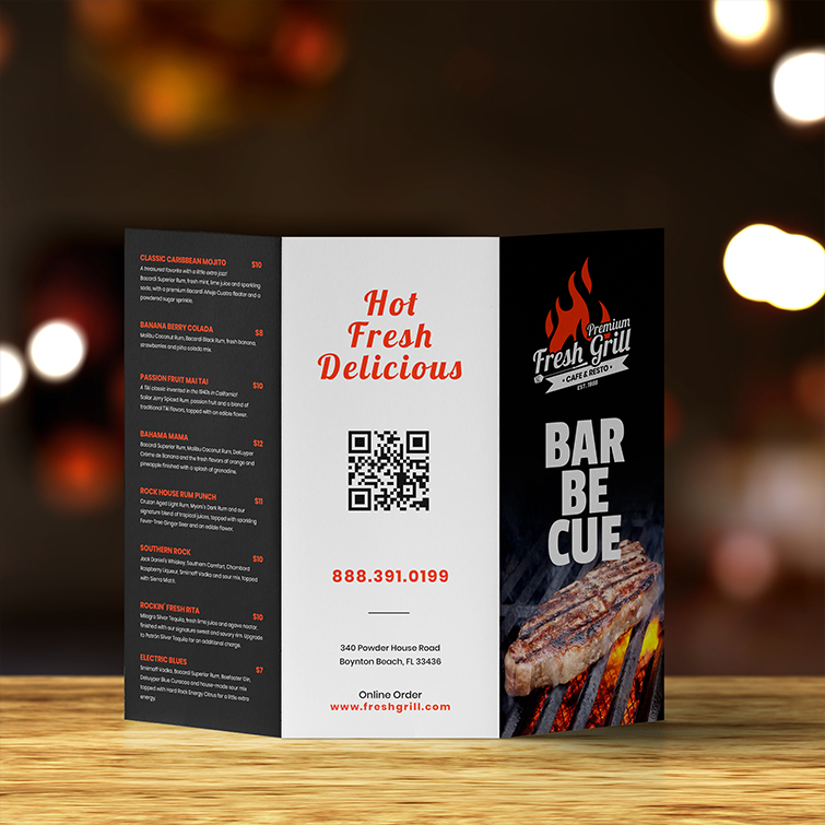Restaurant Tri-Fold Brochure | Standard Gloss Text Paper Stock With Aqueous Coating And Tri Folding Brochures | Print Magic