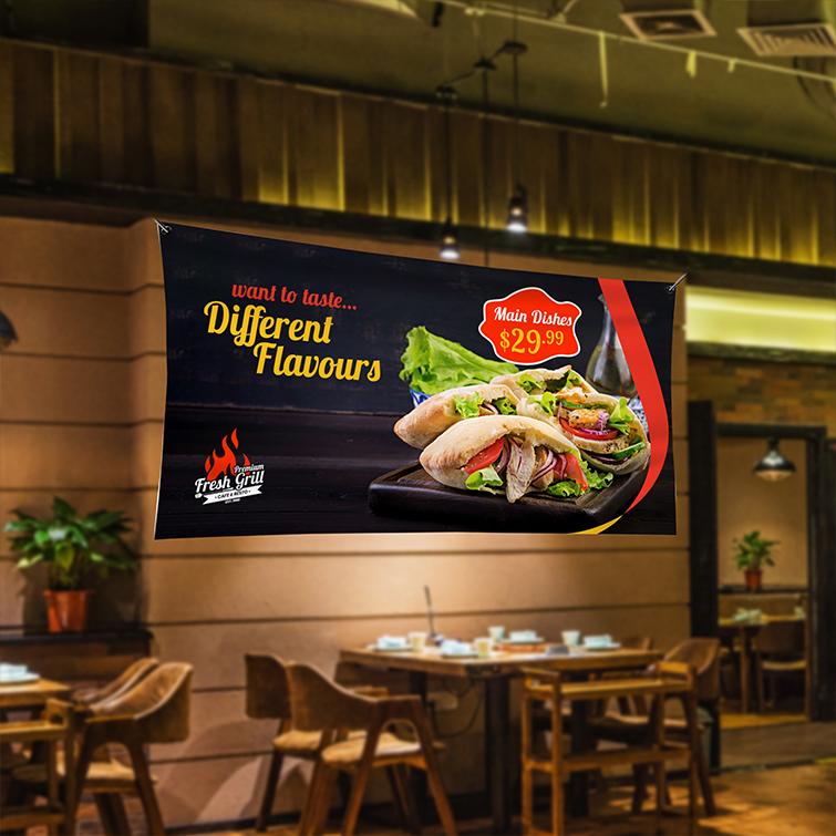 Restaurant Vinyl Banner Indoor | Different Flavours main Dishes | Print Magic