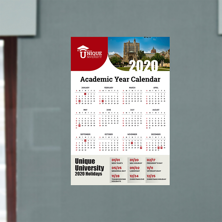 School Year Card Calendars | Premium Gloss With Aqueous Coating Academic Year Calendars | Print Magic