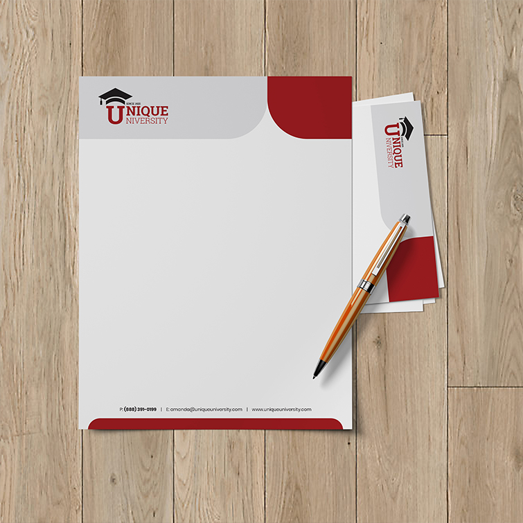 School Letterhead | White Line Uncoated Paper Stock University Letterhead | Print Magic