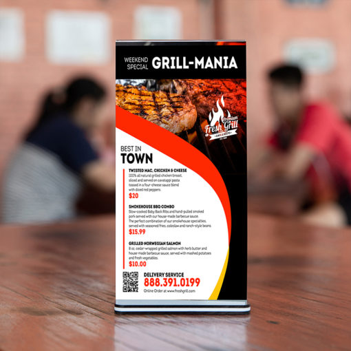 Standard Restaurant Table Tents | Weekend Special Grill Mania Table Tents | Print Magic