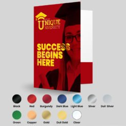 Foil Presentation Folders | Present marketing products in a professional and wrinkle-free manner and Conveniently organize and bundle documents in custom office stationery Education Foil Printed Presentation Folder | Print Magic