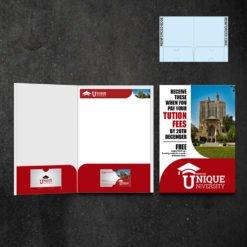 Mini Presentation Folders   Education Half Moon Horizontal Business Card Slits Centered On The Both Pockets and Print Mini Presentation Folders with reinforced Pockets on both sides   Print Magic