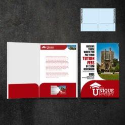 Mini Presentation Folders | Education Half Moon Horizontal Business Card Slits Centered On The Right Pocket and Small size Folders that create a big impact | Print Magic