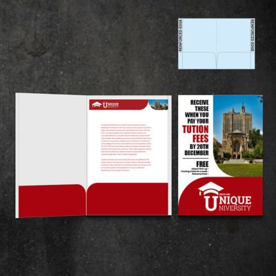 Mini Presentation Folders | Education No Business Card Slits and Add Half Moon Business Card Slits on one or both sides | Print Magic