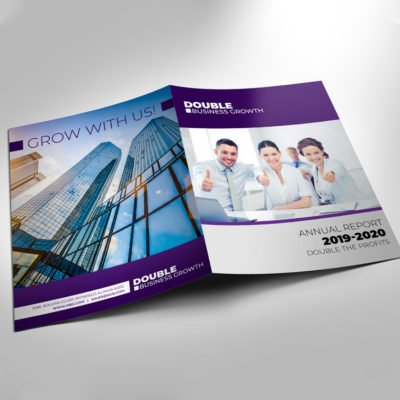 Custom Presentation Folders | Bright White Linen Paper Stock Full color printed Outside Business Corporate Annual Folder | Print Magic