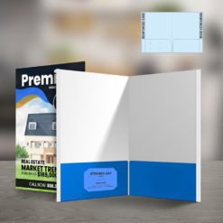 Custom Presentation Folders | Reinforced EDGE Both Pockets Horizontal Business Card Slits Left Pockets and Add brochures, postcards, letters, flyers, and more | print Magic