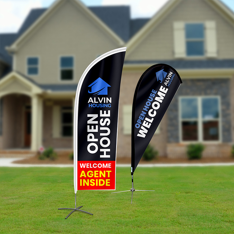 Flags | High wind-resistance for outdoor advertising and Eye-catching shape that is attractive for printing promotions | Teardrop Flags | Print Magic