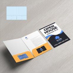 Mini Presentation Folders   Real Estate Half Moon Horizontal Business Card Slits Centered On The Both Pockets No Reinforced Edge and Print Mini Presentation Folders with reinforced Pockets on both sides   Print Magic