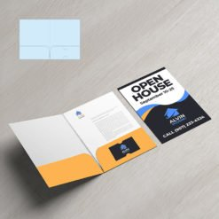 Mini Presentation Folders   Real Estate Half Moon Horizontal Business Card Slits Centered On The Right Pocket No Reinforced Edge and Small size Folders that create a big impact   Print Magic