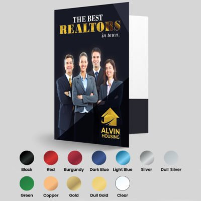 Foil Presentation Folders | Preassembled and glued Foil Presentation Folders and Add metallic elements to create a bold and stunning product Real EstateFoil Printed Presentation Folder | Print Magic