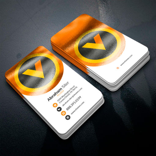 Akuafoil Business Cards | Akua Foil Rounded Corner Business Cards Vertical Real Estate Realtor | PrintMagic