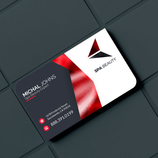 Akuafoil Business Cards | Akua Foil Two Rounded Corner Business Cards Horizontal SPA Beauty Specialist | PrintMagic
