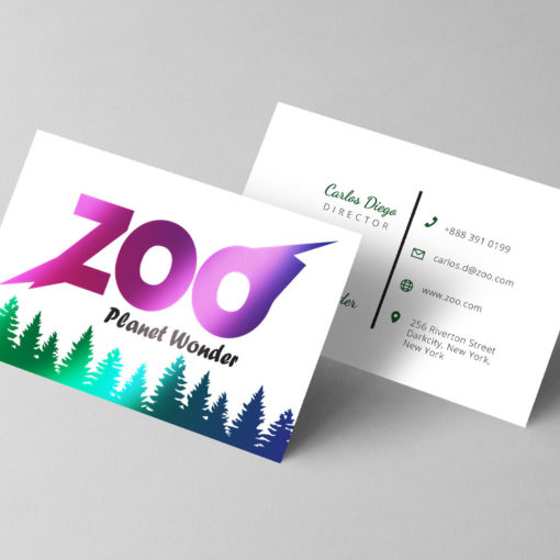 AQUA-FOIL Business Cards | Premium Gloss paper stock with UV coating or Spot UV coating And Choice for scoring in half to create folded AQUA-FOIL Business Cards | PrintMagic