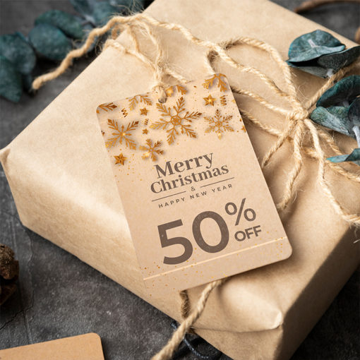 Brown Kraft Hang Tags | Eco-friendly paper stock with a natural look And Light brown color with visible flecks of natural fibers | PrintMagic