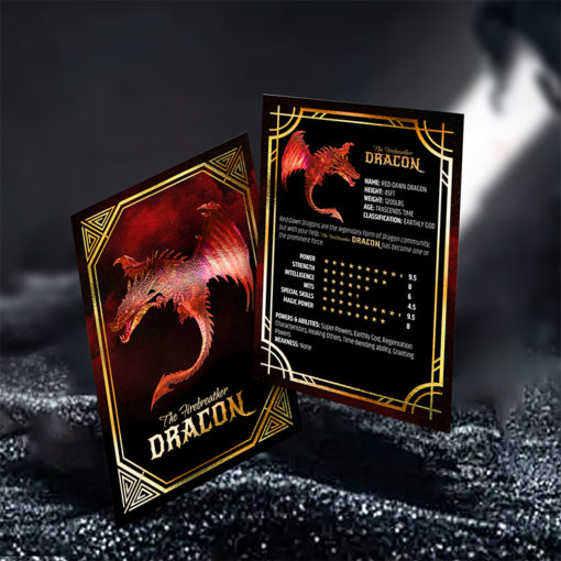 Printed color on Both Side, inline Foil on Front Side with SPOT UV coating and Premium Gloss (16pt C2S) Paper stock and Akuafoil Gaming Cards Collectors Delight