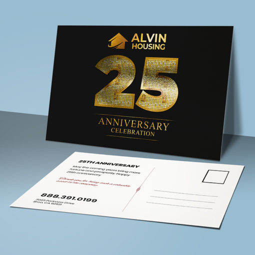 Rectangle Postcard Aqua Foil with Horizontal orientation on Premium Gloss(16pt C2S) paper stock with Inline Foil on the Front side and UV coating on Both sides. Real Estate Inline Metallic Foil Postcards.