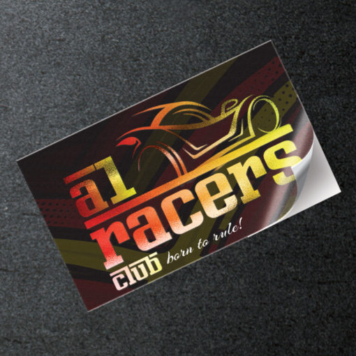 Akuafoil Metallic Stickers | Akuafoil Sticker Rectangle Automotive Industry Racers Club with a variety of popular sizes | PrintMagic