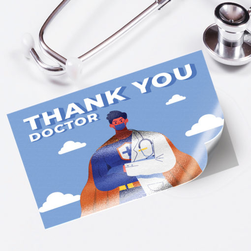 Akuafoil Metallic Stickers | Akuafoil Sticker Rectangle Healthcare Thank You with CMYK Colors and UV coating | PrintMagic