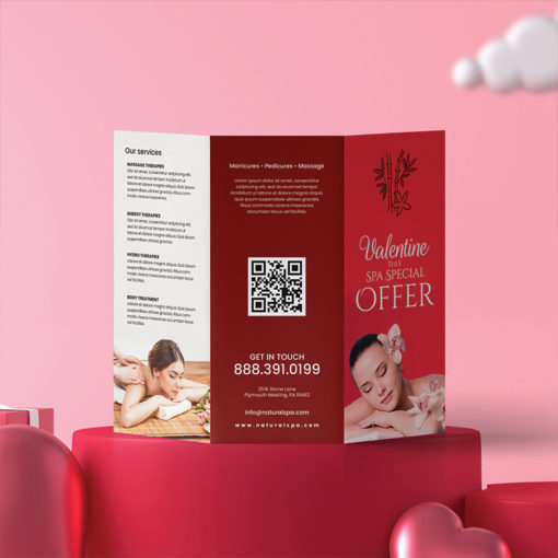 Tri-Fold Brochure | Printed Both Side with Aqueous coating SPA Tri fold Brochure Valentines Special | PrintMagic