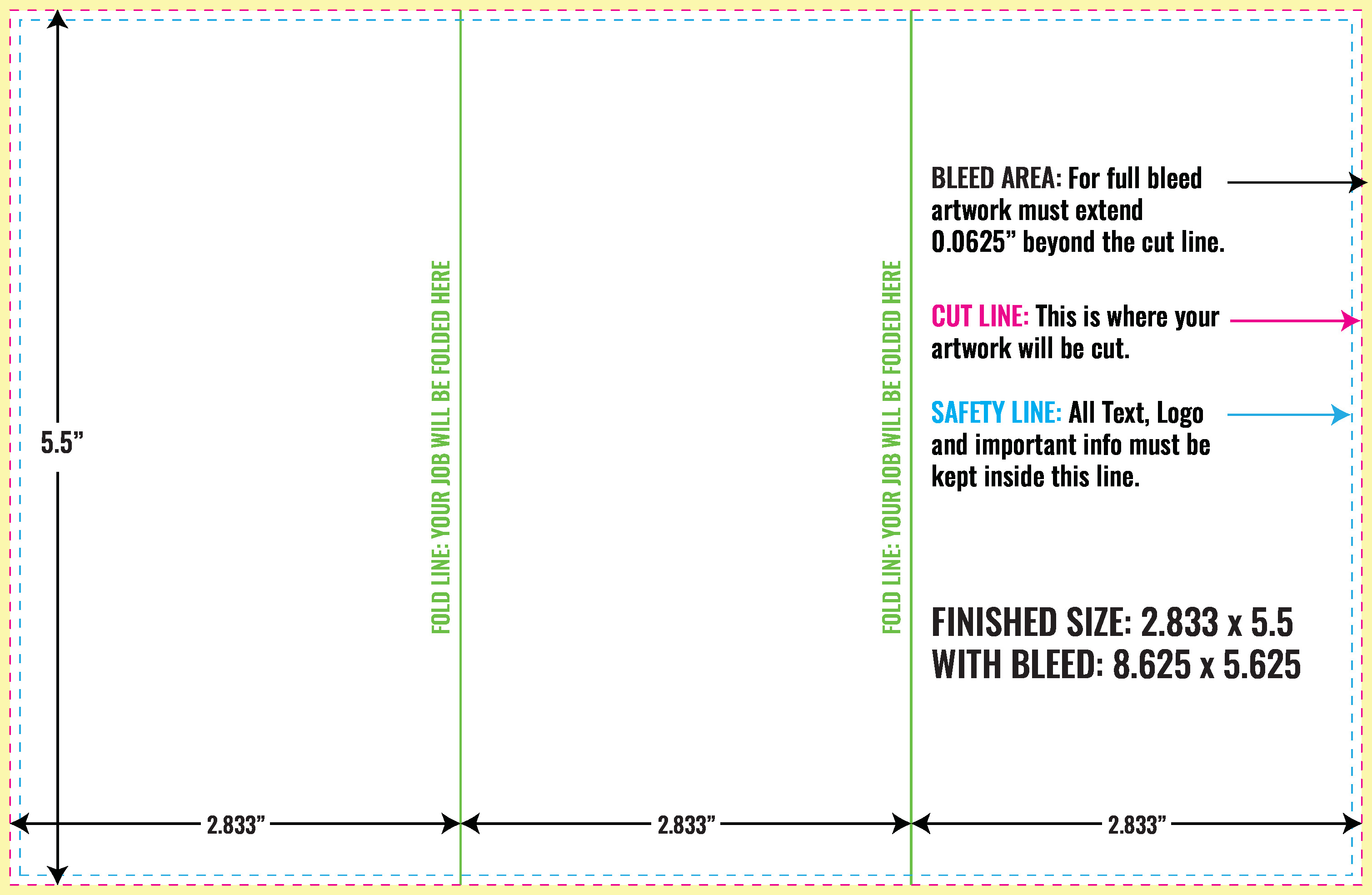 Use Free inDesign Layout Guidelines for Brochure  PrintMagic Within Z Fold Brochure Template Indesign